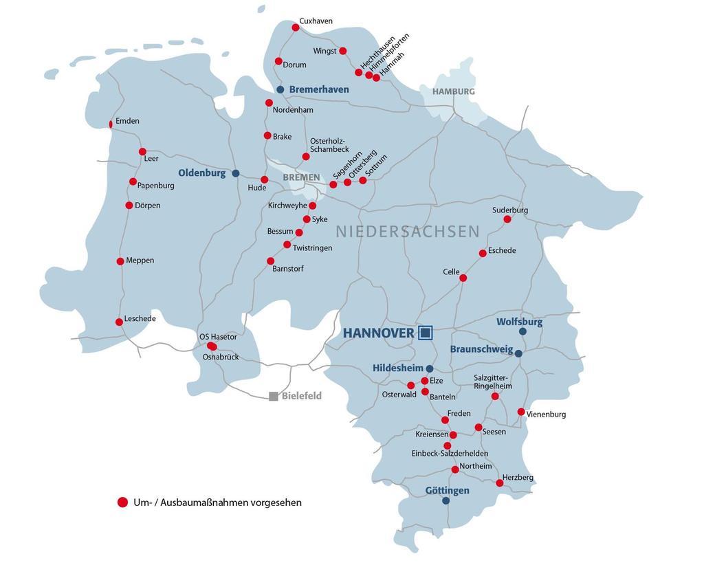 Niedersachsen is on the train Hanover Railway infrastructure